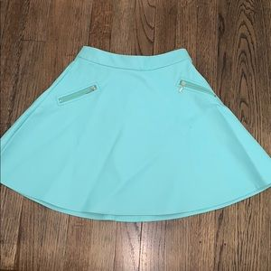 Tiffany Blue faux leather skater skirt